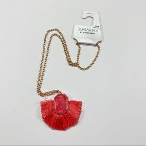 3/$25 SUGARFIX Long Gold Coral Tassel Necklace New